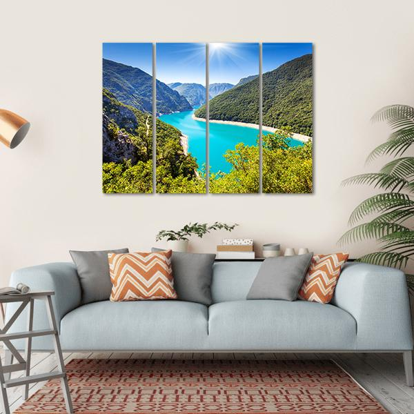 Piva Canyon With Its Reservoir Multi Panel Canvas Wall Art-1 Piece-Small-Gallery Wrap-Tiaracle