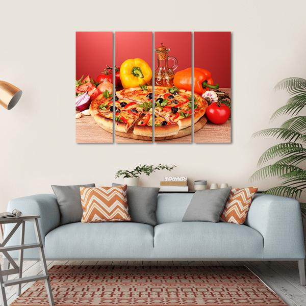 Pizza And Vegetables On A Table Multi Panel Canvas Wall Art 1 Piece / Small / Gallery Wrap Tiaracle