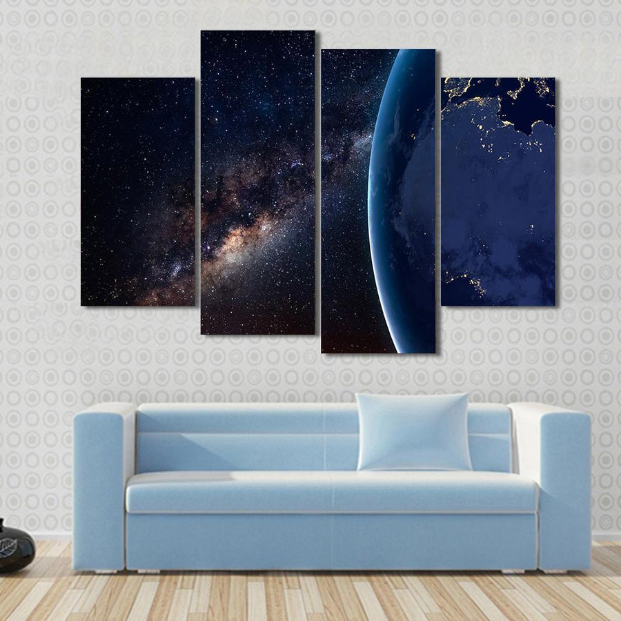Planet Earth and Milky Way At Night Canvas Panel Painting Tiaracle