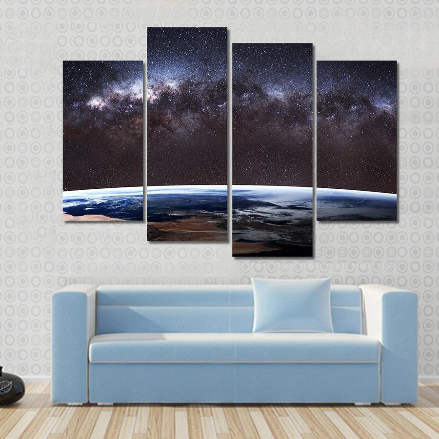 Beautiful Planet Earth and Milky Way Canvas Panel Painting Tiaracle