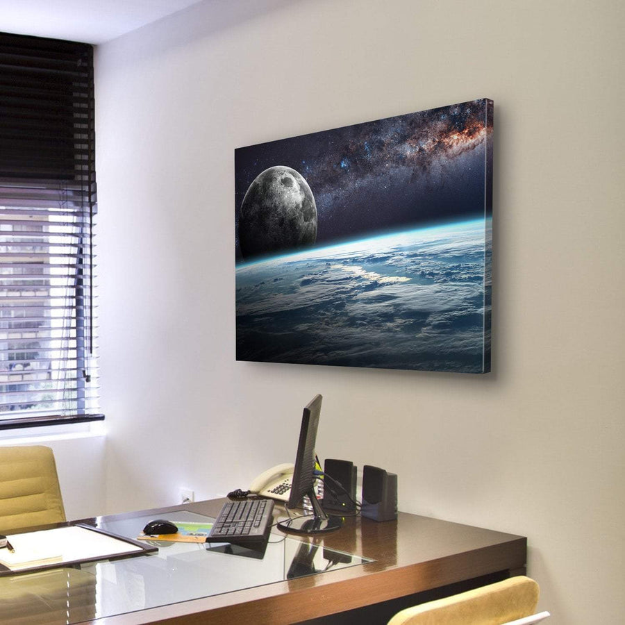 Planet Earth and Moon Illustration Canvas Panel Painting Tiaracle