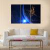 Planet Earth With A Spectacular Sunset Multi Panel Canvas Wall Art 3 Horizontal / Small / Gallery Wrap Tiaracle