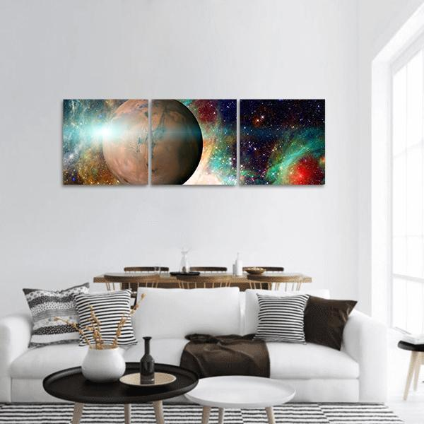 Planet Mars In The Solar System Panoramic Canvas Wall Art 1 Piece / Small Tiaracle