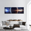 Planets In Outer Space Panoramic Canvas Wall Art 3 Piece / Small Tiaracle