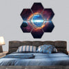 Planets With Stars And Galaxies Hexagonal Canvas Wall Art 7 Hexa / Small / Gallery Wrap Tiaracle