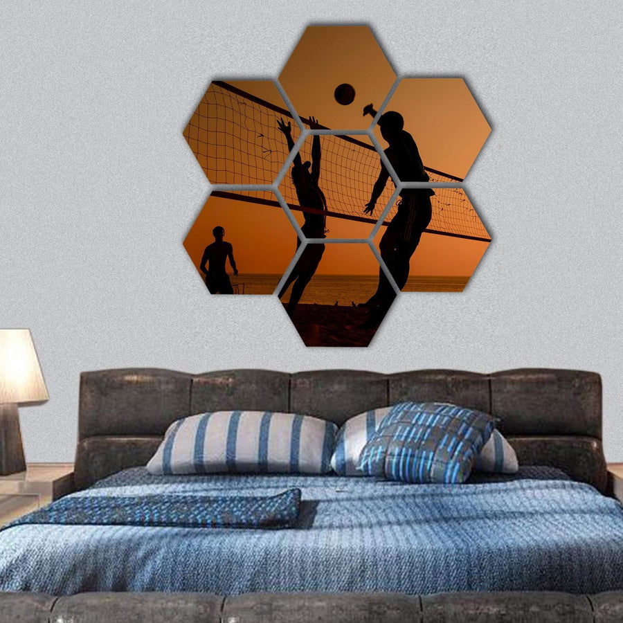 Players Playing Volley Ball At Beach Hexagonal Canvas Wall Art 1 Hexa / Small / Gallery Wrap Tiaracle