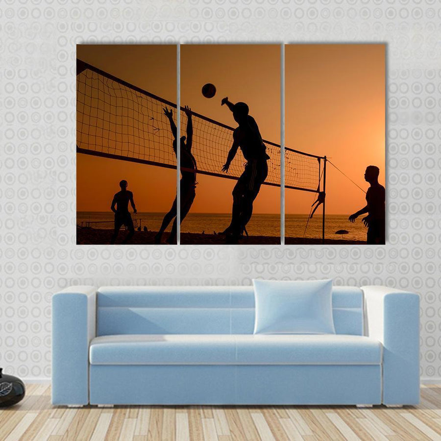 Players Playing Volley Ball At Beach Canvas Panel Painting Tiaracle