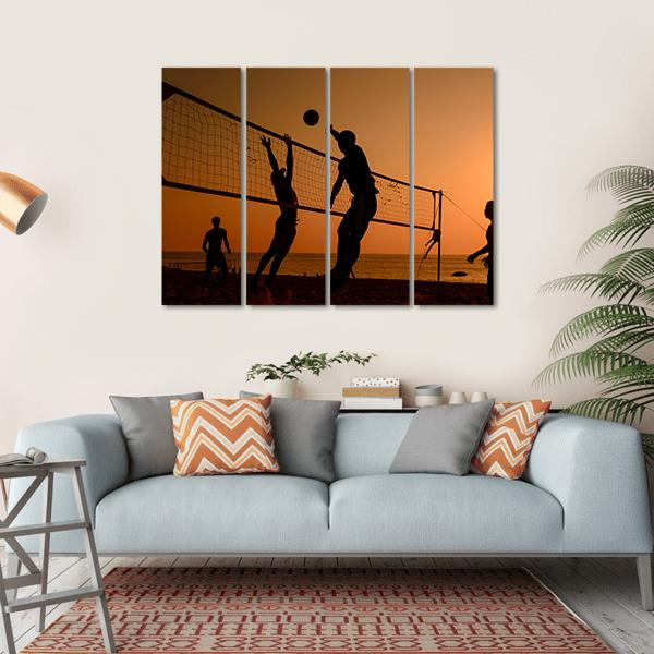 Players Playing Volley Ball At Beach Multi Panel Canvas Wall Art-1 Piece-Small-Gallery Wrap-Tiaracle
