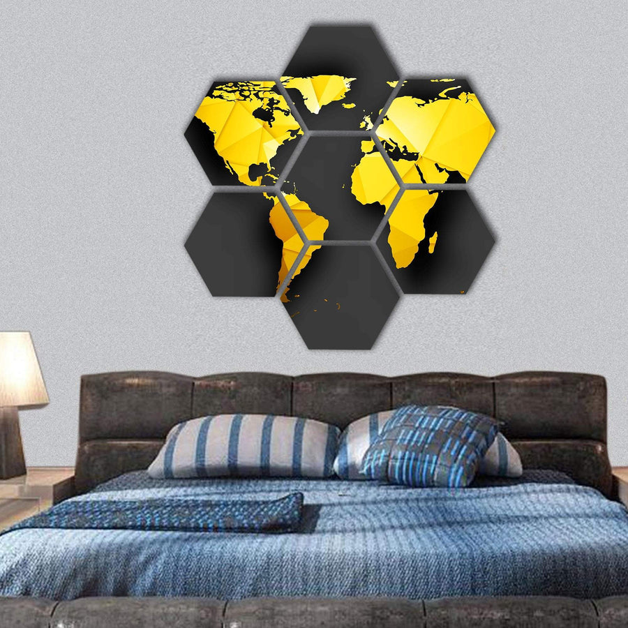 Polygonal World Map Hexagonal Canvas Wall Art 1 Hexa / Small / Gallery Wrap Tiaracle