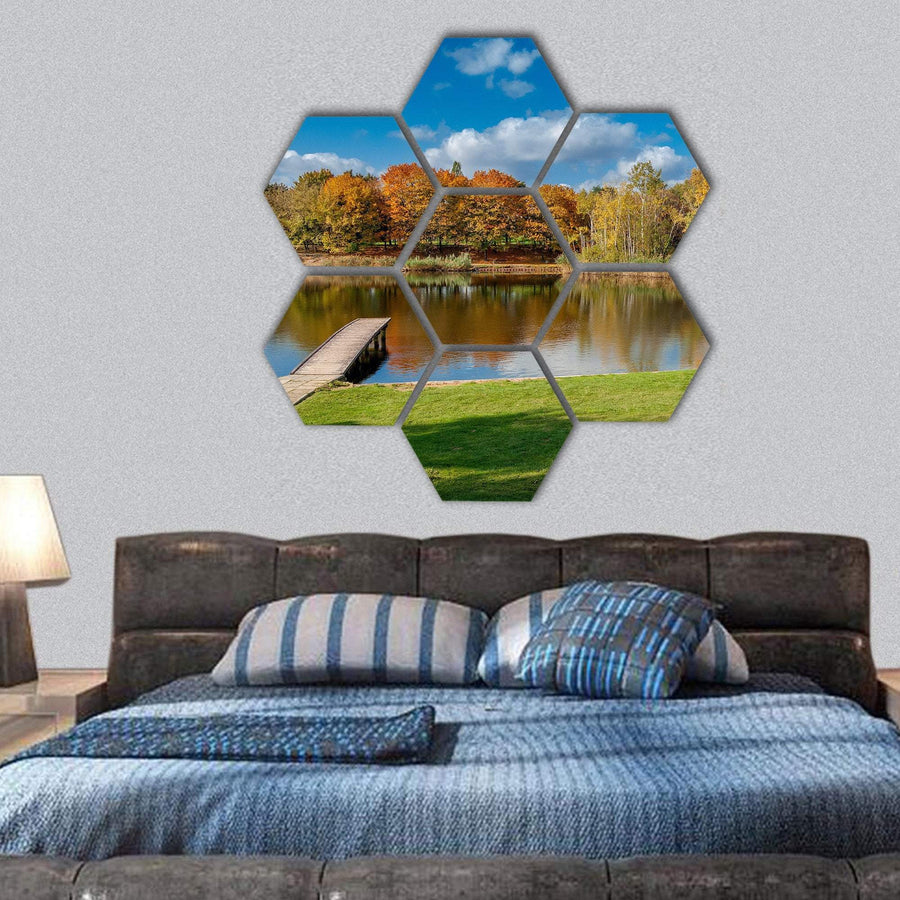 Pond In Public Park Szczesliwice In Warsaw Hexagonal Canvas Wall Art 1 Hexa / Small / Gallery Wrap Tiaracle