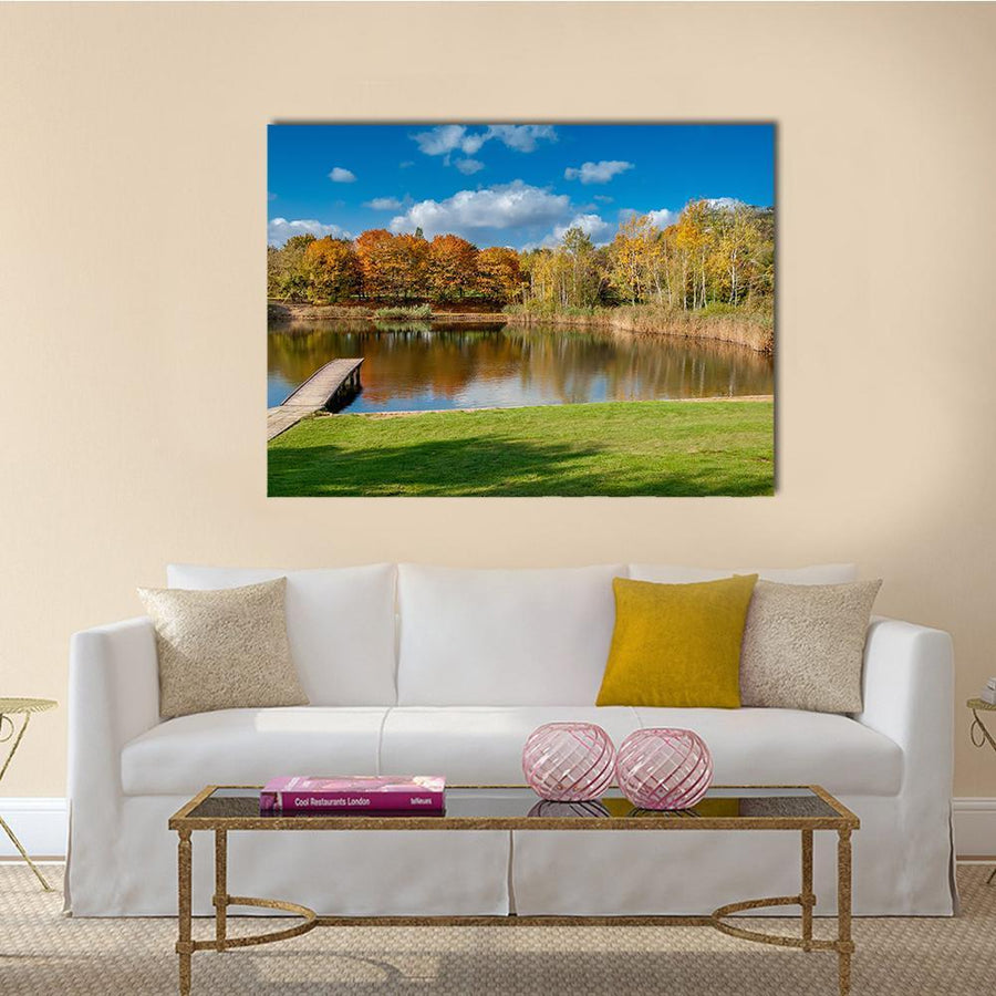 Pond In Public Park Szczesliwice In Warsaw Multi Panel Canvas Wall Art 4 Pieces / Medium / Canvas Tiaracle