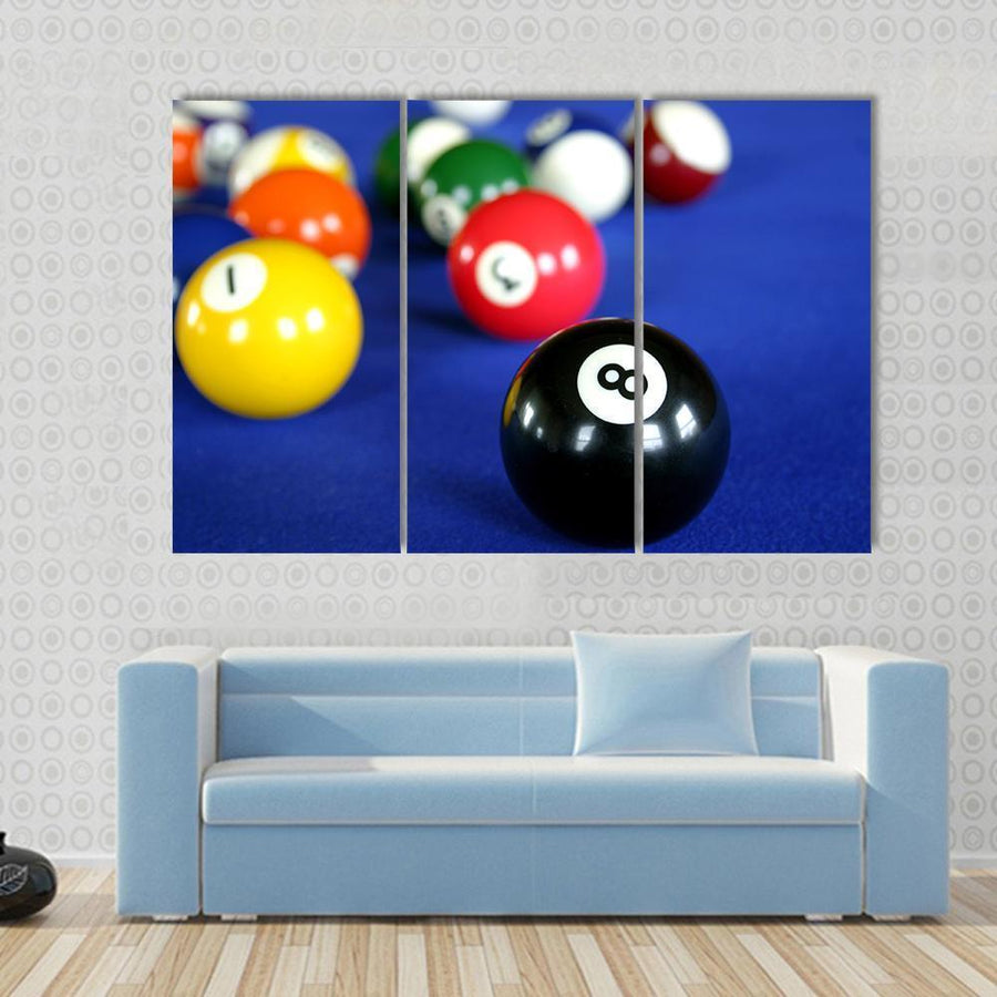 Pool Balls On Blue Pool Table Canvas Panel Painting Tiaracle