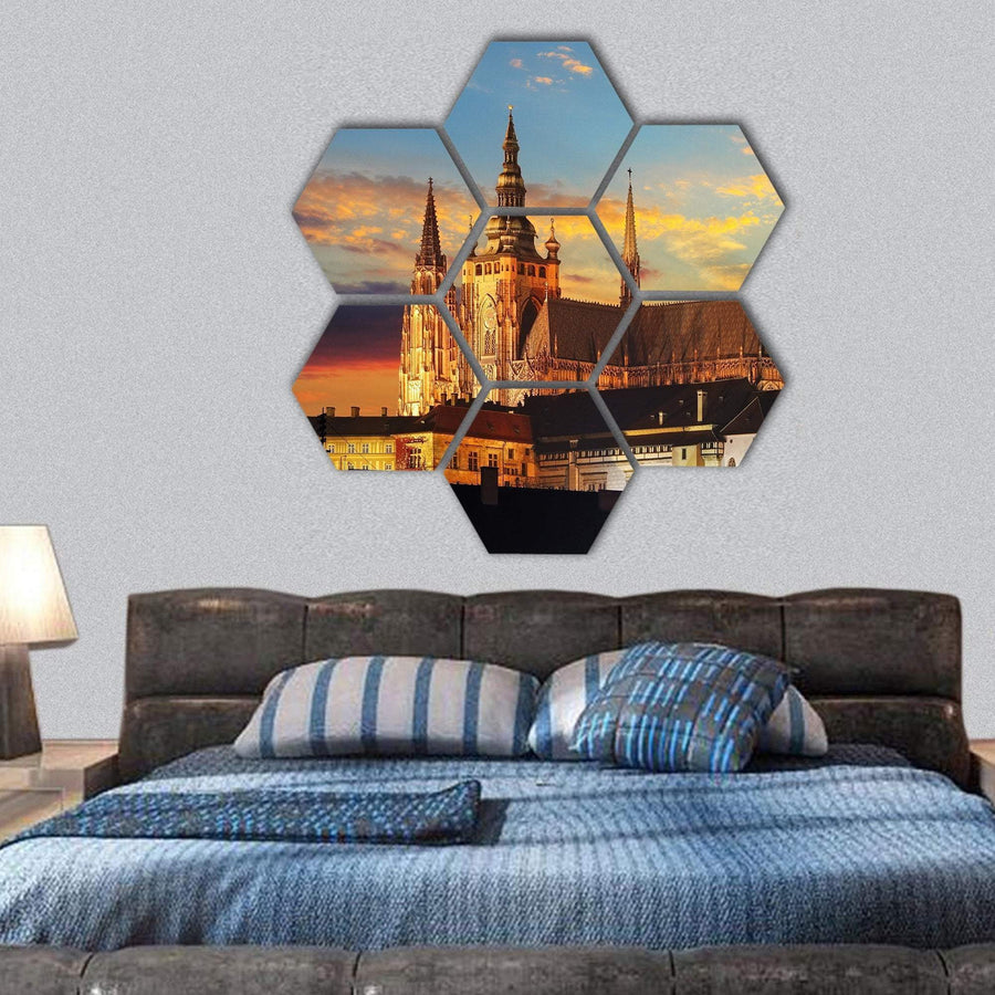 Prague Castle At Sunset Hexagonal Canvas Wall Art 1 Hexa / Small / Gallery Wrap Tiaracle