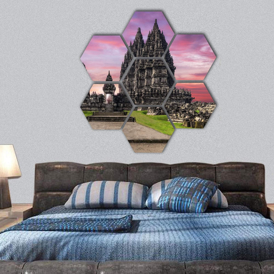 Prambanan Temple Against Sunrise Sky Hexagonal Canvas Wall Art 1 Hexa / Small / Gallery Wrap Tiaracle