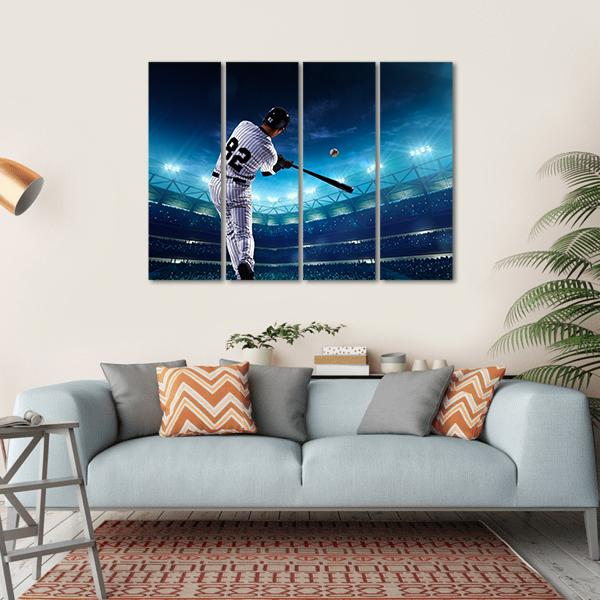 Professional Baseball Players On The Grand Arena In Night Multi Panel Canvas Wall Art-1 Piece-Small-Gallery Wrap-Tiaracle