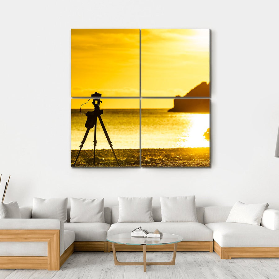 Professional Camera Taking Picture Canvas Wall Art-1 Piece-Medium-Gallery Wrap-Tiaracle