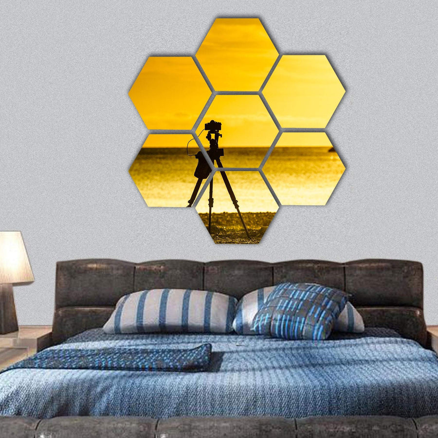 Professional Camera Taking Picture Hexagonal Canvas Wall Art 1 Hexa / Small / Gallery Wrap Tiaracle