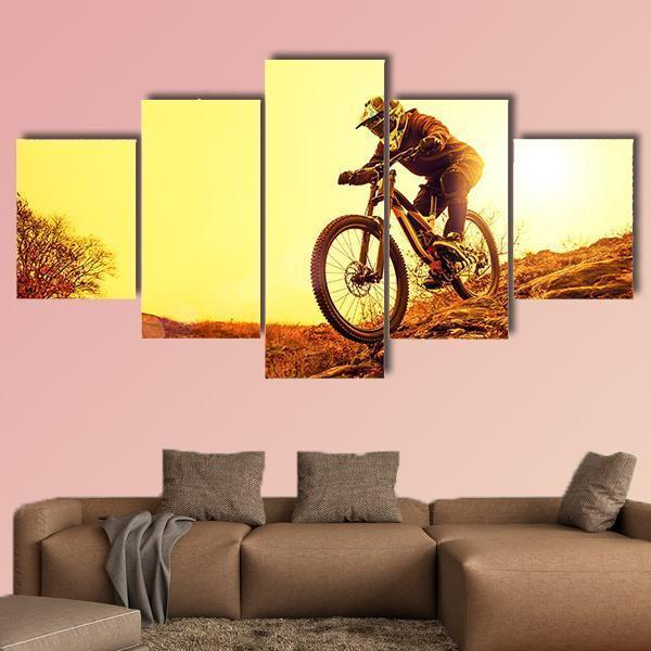 Professional Cyclist Riding Mountain Bike Down The Rocky Hill Multi Panel Canvas Wall Art 3 Pieces / Medium / Canvas Tiaracle