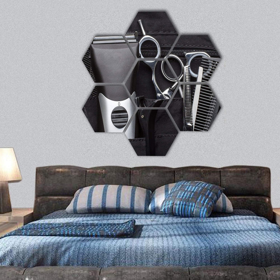 Professional Tools Of Hairdresser Hexagonal Canvas Wall Art 1 Hexa / Small / Gallery Wrap Tiaracle