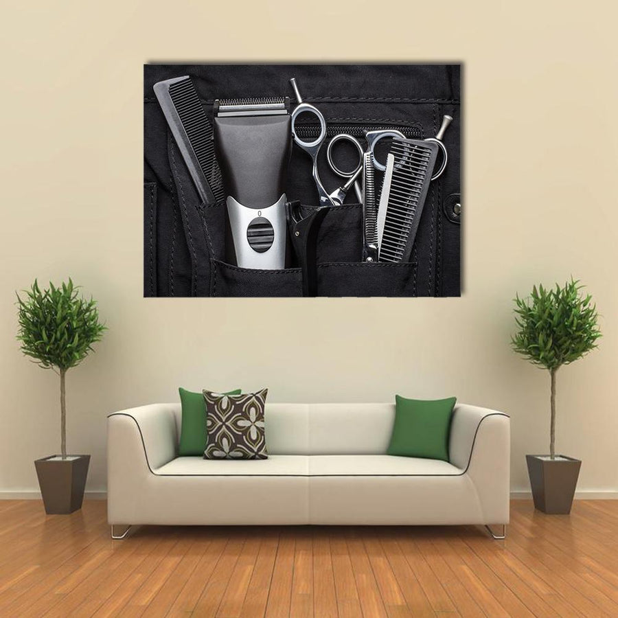 Professional Tools Of Hairdresser Multi Panel Canvas Wall Art-4 Horizontal-Small-Gallery Wrap-Tiaracle