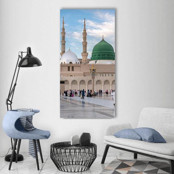 Prophet's Mosque In Medinah Vertical Canvas Wall Art 3 Vertical / Small / Gallery Wrap Tiaracle