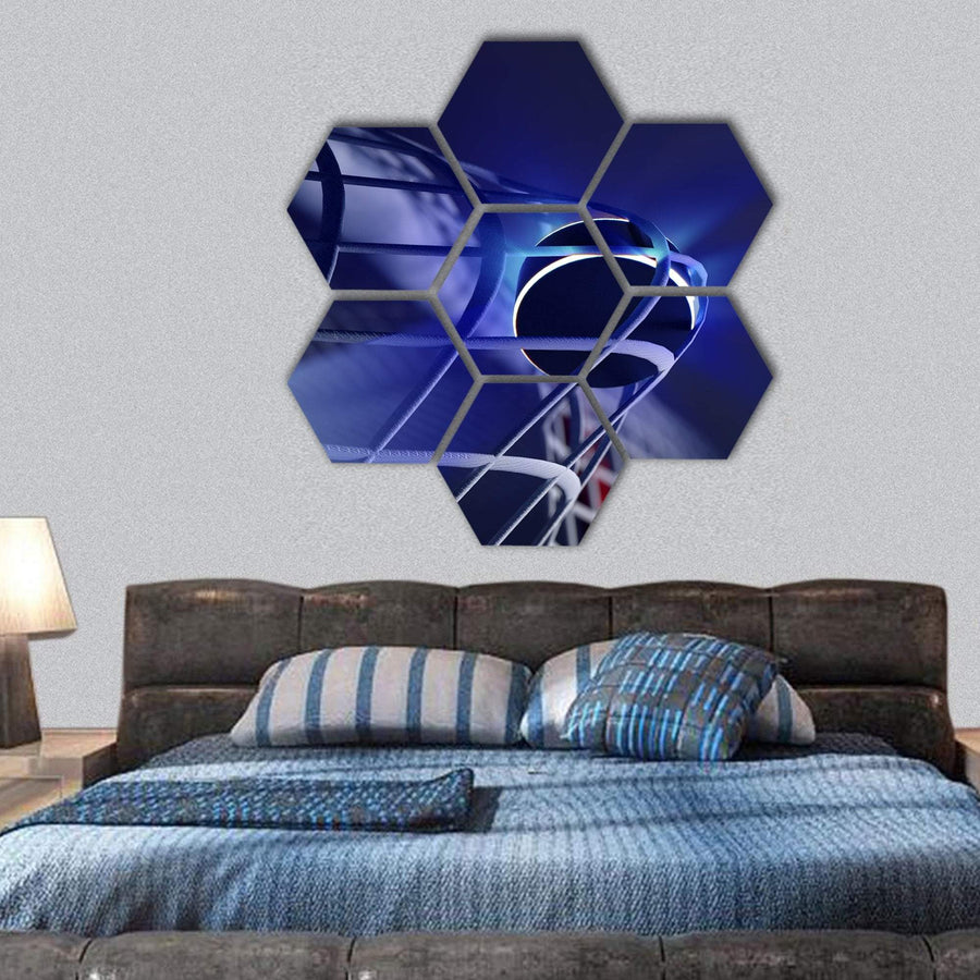 Puck In Net Of Ice Hockey Goal Hexagonal Canvas Wall Art 1 Hexa / Small / Gallery Wrap Tiaracle