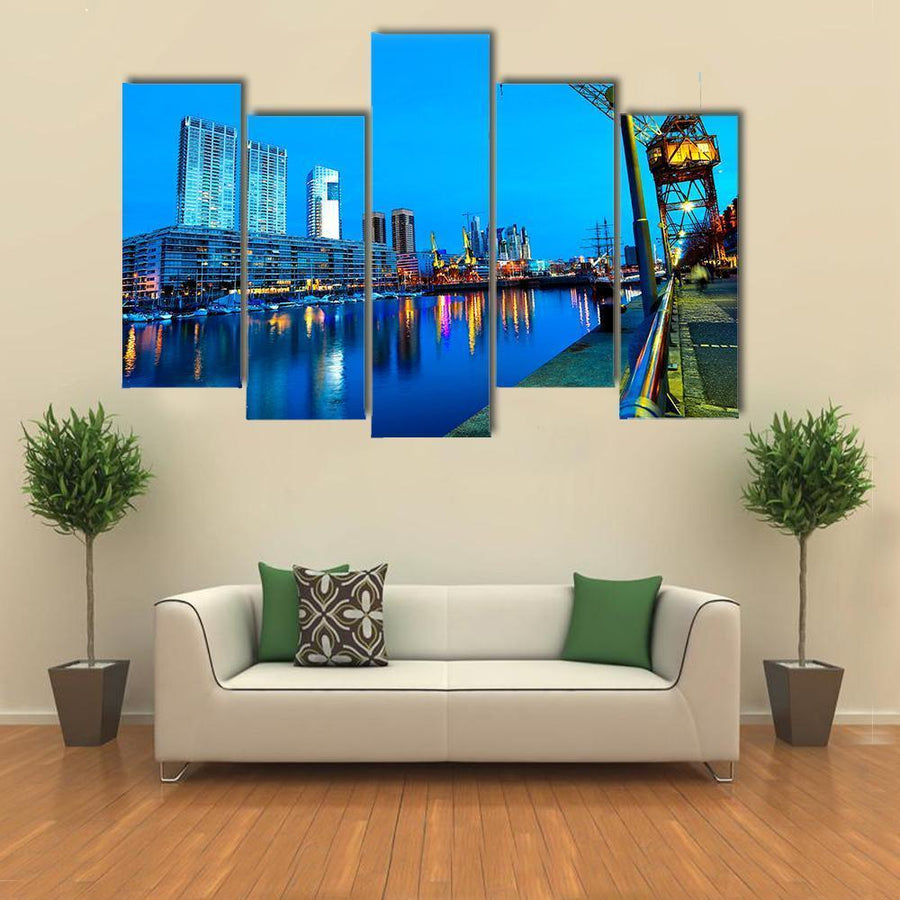 Famous Neighborhood Of Puerto Madero At Night Canvas Panel Painting Tiaracle