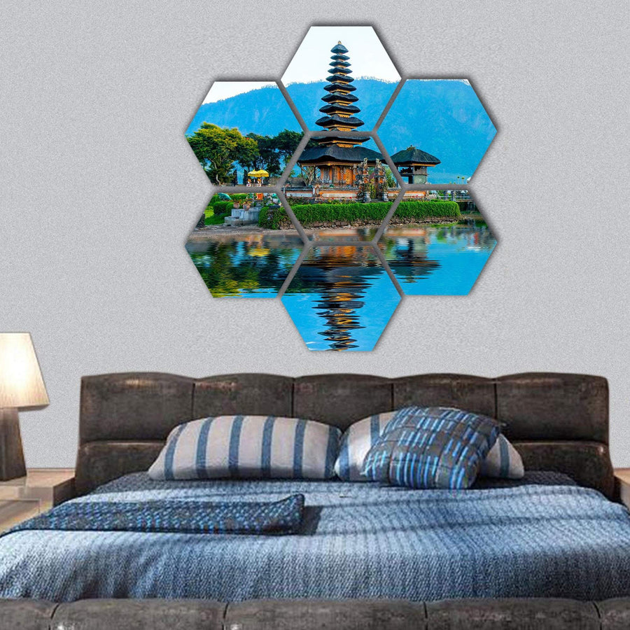 Pura Ulun Danu Temple At Sunrise On Lake Bratan Hexagonal Canvas Wall Art 1 Hexa / Small / Gallery Wrap Tiaracle