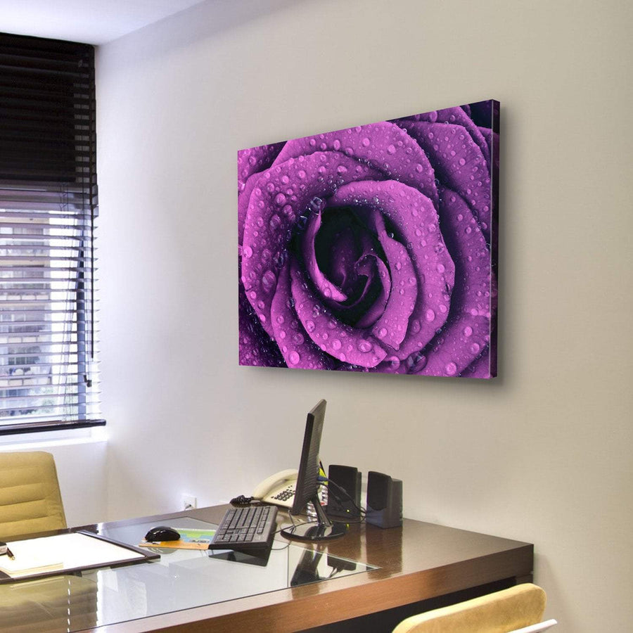 Purple Rose With Dew Drops Multi Panel Canvas Wall Art 5 Pieces(A) / Medium / Canvas Tiaracle