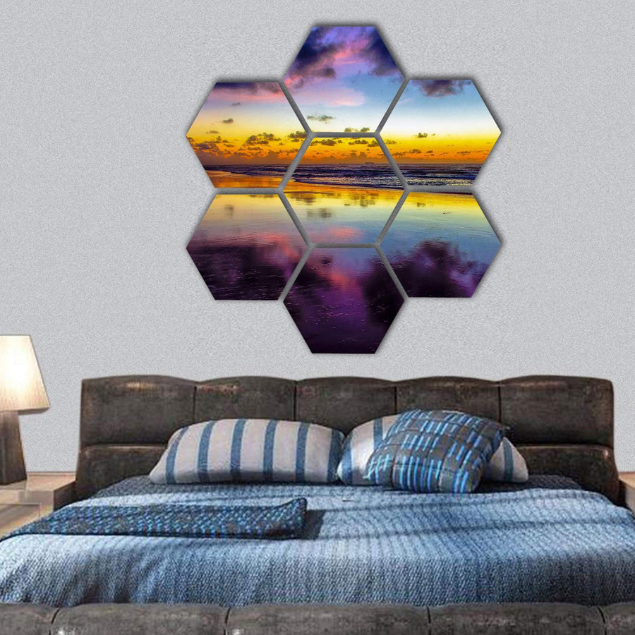 Purple Twilight On Porto de Galinhas In Brazil Hexagonal Canvas Wall Art 1 Hexa / Small / Gallery Wrap Tiaracle