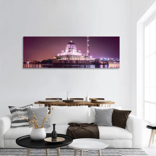 Putra Mosque In Malaysia Panoramic Canvas Wall Art 3 Piece / Small Tiaracle