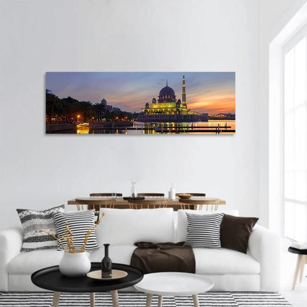 Putra Mosque In Malaysia Panoramic Canvas Wall Art Tiaracle