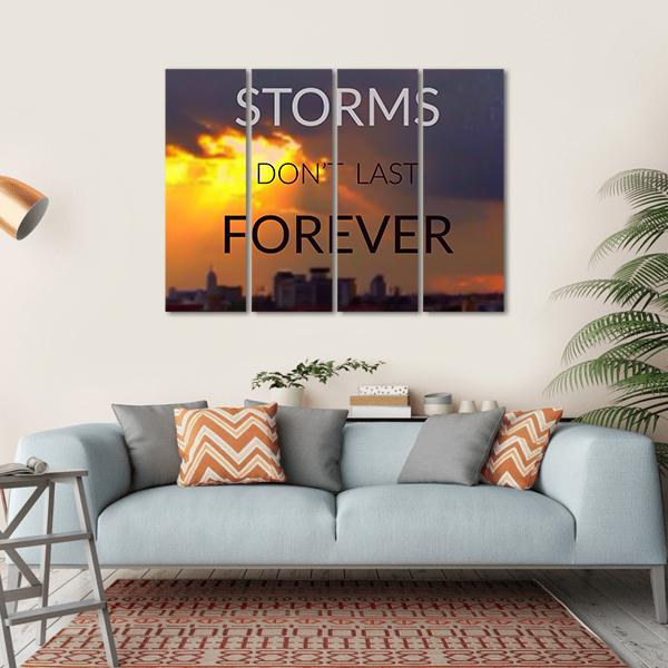 "Quote ""Storms Don't Last Forever"" Multi Panel Canvas Wall Art 1 Piece / Small / Gallery Wrap Tiaracle"