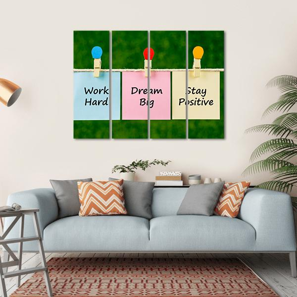 "Quote ""Work Hard Dream Big Stay Positive"" Multi Panel Canvas Wall Art 1 Piece / Small / Gallery Wrap Tiaracle"