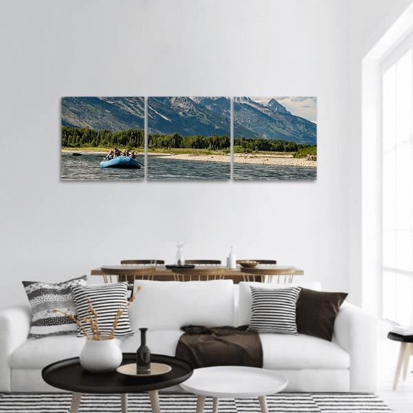 Rafting The Snake River In Wyoming Panoramic Canvas Wall Art Tiaracle