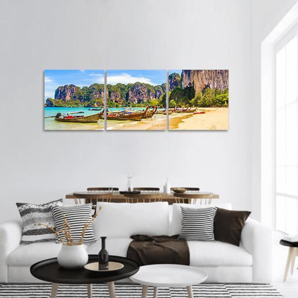 Railay Beach In Krabi Thailand Panoramic Canvas Wall Art 1 Piece / Small Tiaracle