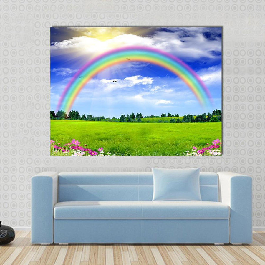 Rainbow In The Blue Sky Multi Panel Canvas Wall Art 4 Horizontal / Small / Gallery Wrap Tiaracle