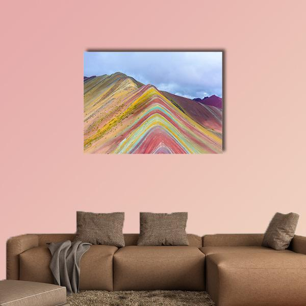 Rainbow Mountain In Peru USA Multi Panel Canvas Wall Art 4 Pieces / Medium / Canvas Tiaracle