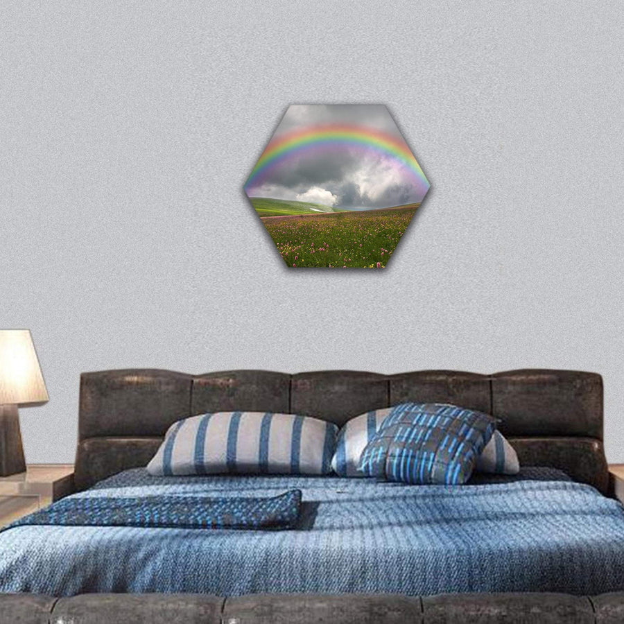 Rainbow On Dark Sky Hexagonal Canvas Wall Art 7 Hexa / Small / Gallery Wrap Tiaracle