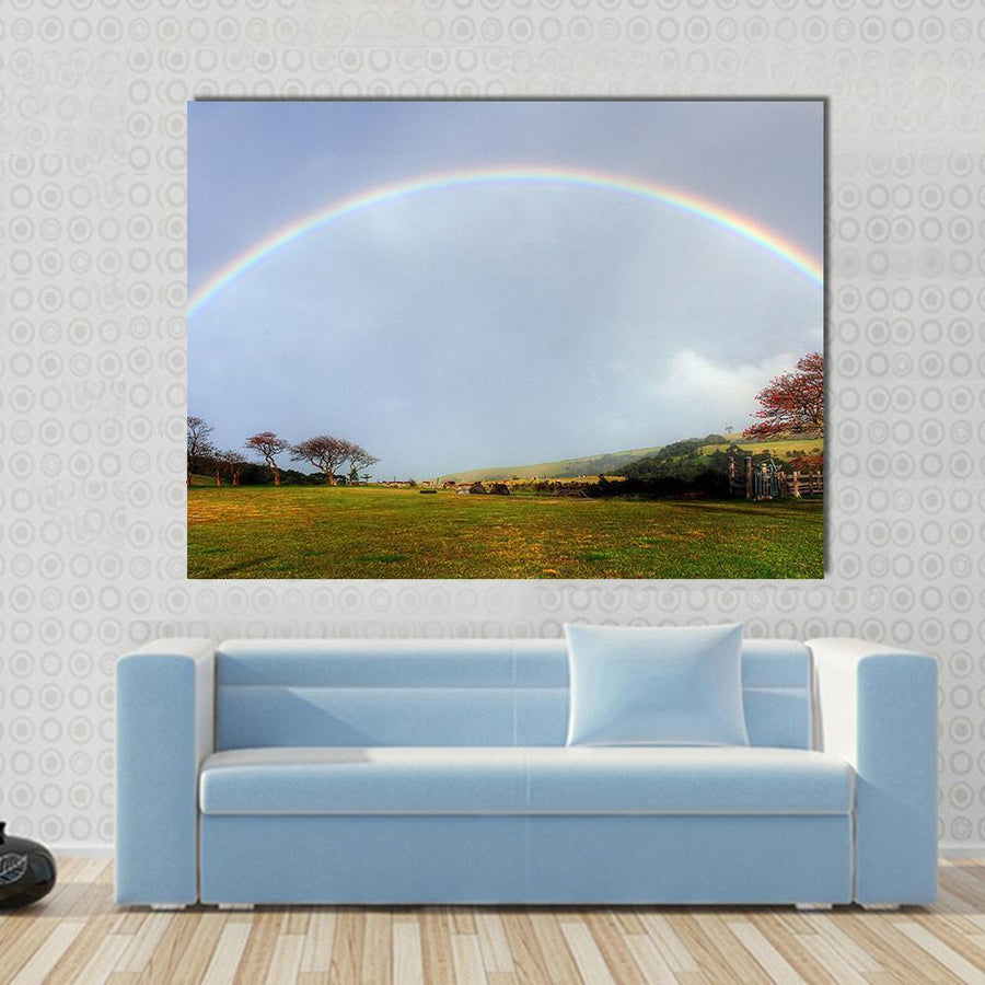 Rainbow Over A Farm Field Multi Panel Canvas Wall Art 4 Horizontal / Small / Gallery Wrap Tiaracle