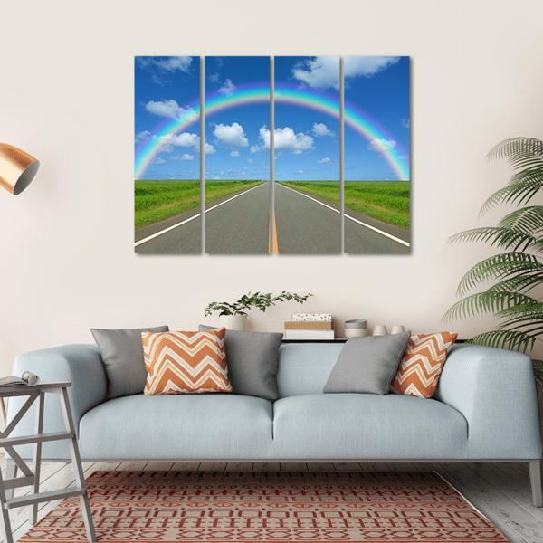 Rainbow Over Straight Road Multi Panel Canvas Wall Art 1 Piece / Small / Gallery Wrap Tiaracle