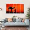 Rajasthan Desert With Camel And Man Multi Panel Canvas Wall Art-5 Horizontal-Small-Gallery Wrap-Tiaracle