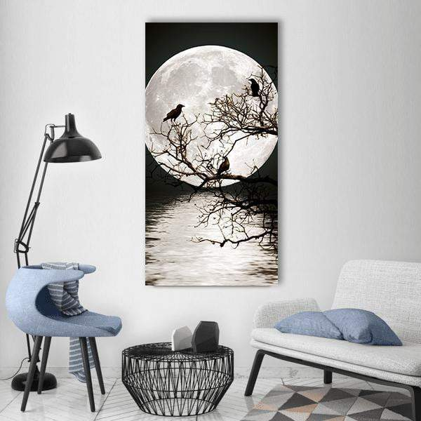 Ravens On Tree With Full Moon Vertical Canvas Wall Art 3 Vertical / Small / Gallery Wrap Tiaracle