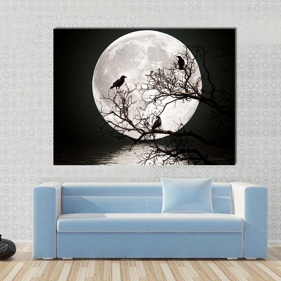 Ravens sitting On A Tree Shined With The Full Moon Multi Panel Canvas Wall Art 4 Horizontal / Small / Gallery Wrap Tiaracle