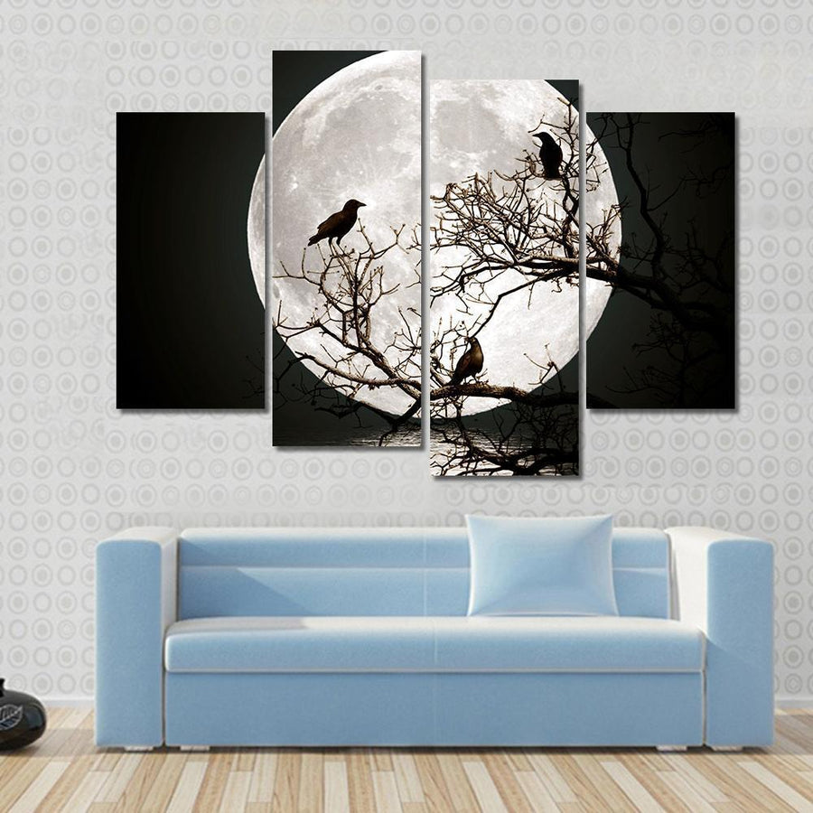 Ravens sitting On A Tree Shined With The Full Moon Canvas Panel Painting Tiaracle