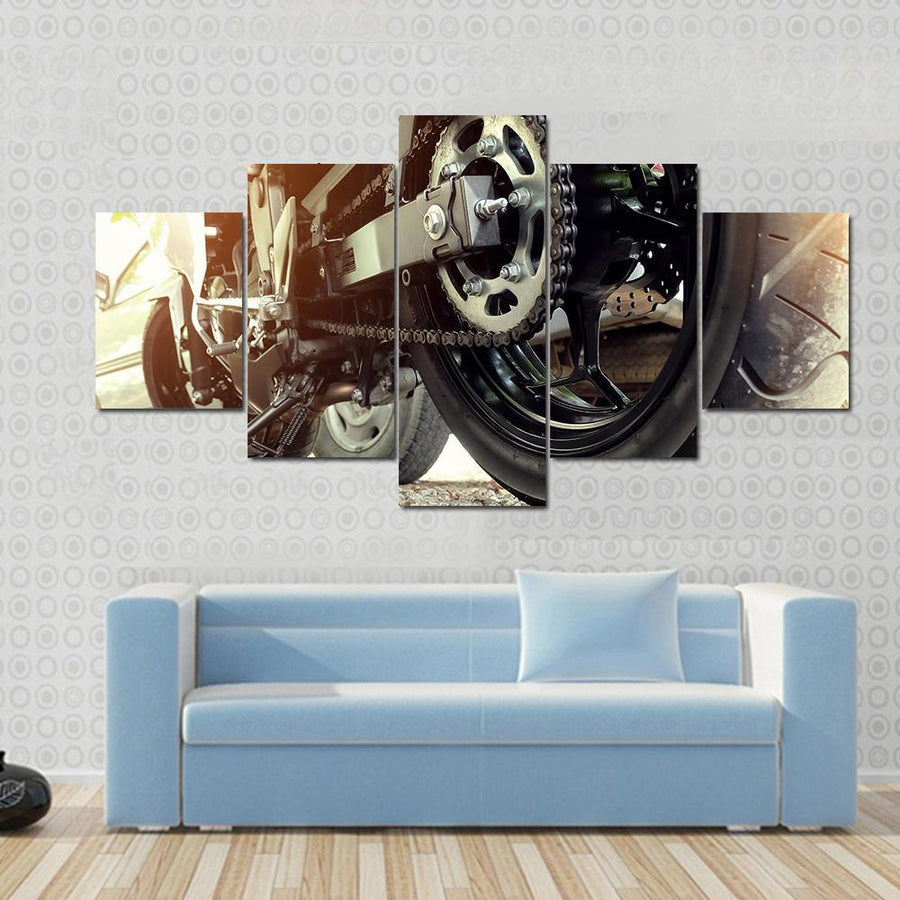 Rear chain And Sprocket Of Motorcycle Wheel Canvas Panel Painting Tiaracle