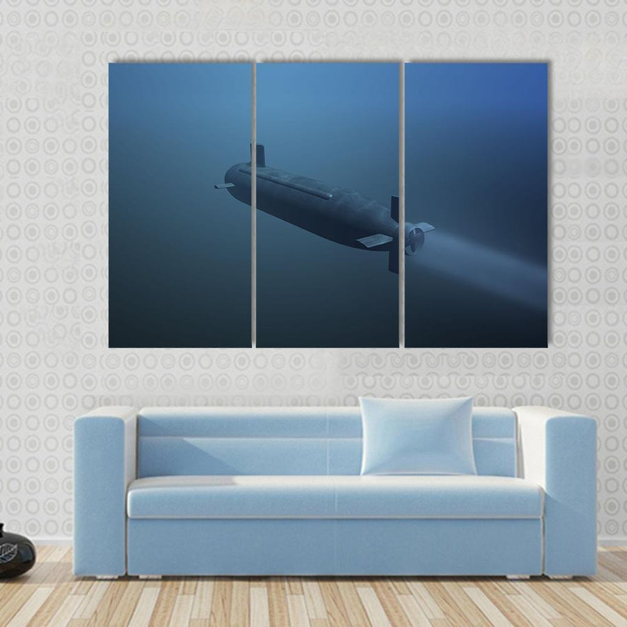 Rear View Of Submarine Under Water Multi Panel Canvas Wall Art 3 Pieces / Small / Gallery Wrap Tiaracle