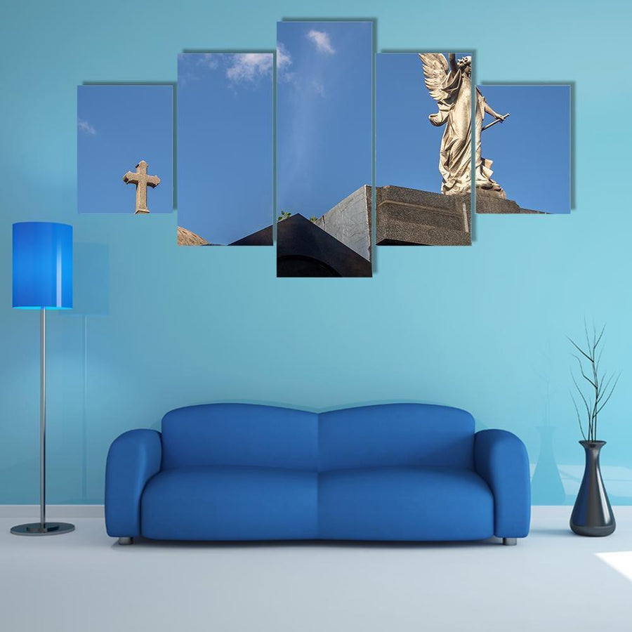 Detail Of Recoleta Cemetery Buenos Aires Multi Panel Canvas Wall Art 3 Pieces / Medium / Canvas Tiaracle