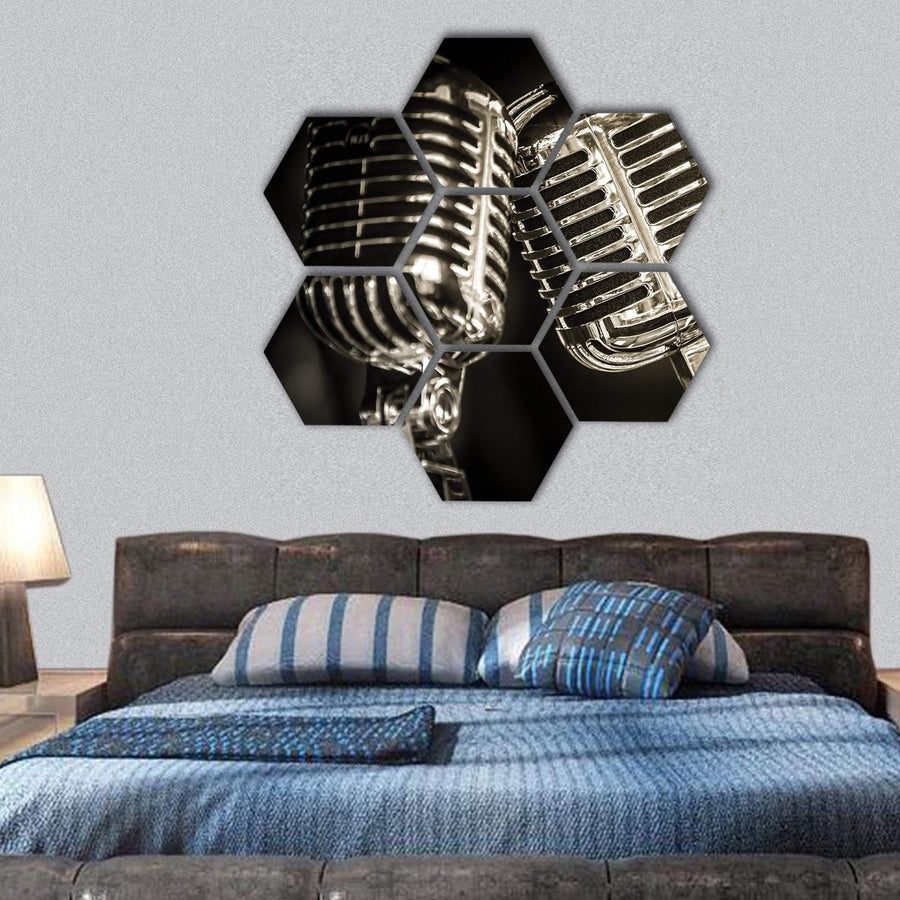 Recording Studio Microphones Hexagonal Canvas Wall Art 1 Hexa / Small / Gallery Wrap Tiaracle