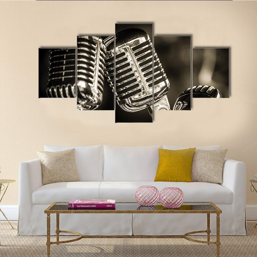 Recording Studio Microphones Multi Panel Canvas Wall Art 5 Pieces(A) / Medium / Canvas Tiaracle